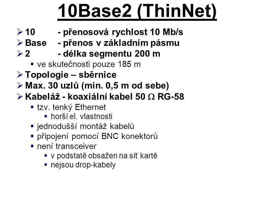 10Base2 (ThinNet)  10- přenosová rychlost 10 Mb/s  Base- přenos v základním pásmu  2- délka segmentu 200 m  ve skutečnosti pouze 185 m  Topologie – sběrnice  Max.