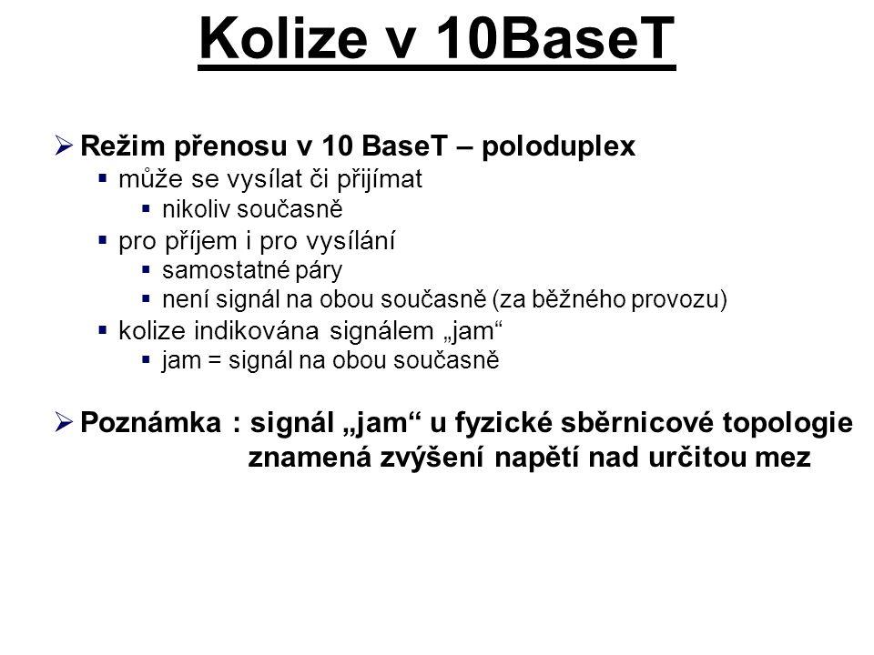 """Kolize v 10BaseT  Režim přenosu v 10 BaseT – poloduplex  může se vysílat či přijímat  nikoliv současně  pro příjem i pro vysílání  samostatné páry  není signál na obou současně (za běžného provozu)  kolize indikována signálem """"jam  jam = signál na obou současně  Poznámka : signál """"jam u fyzické sběrnicové topologie znamená zvýšení napětí nad určitou mez"""