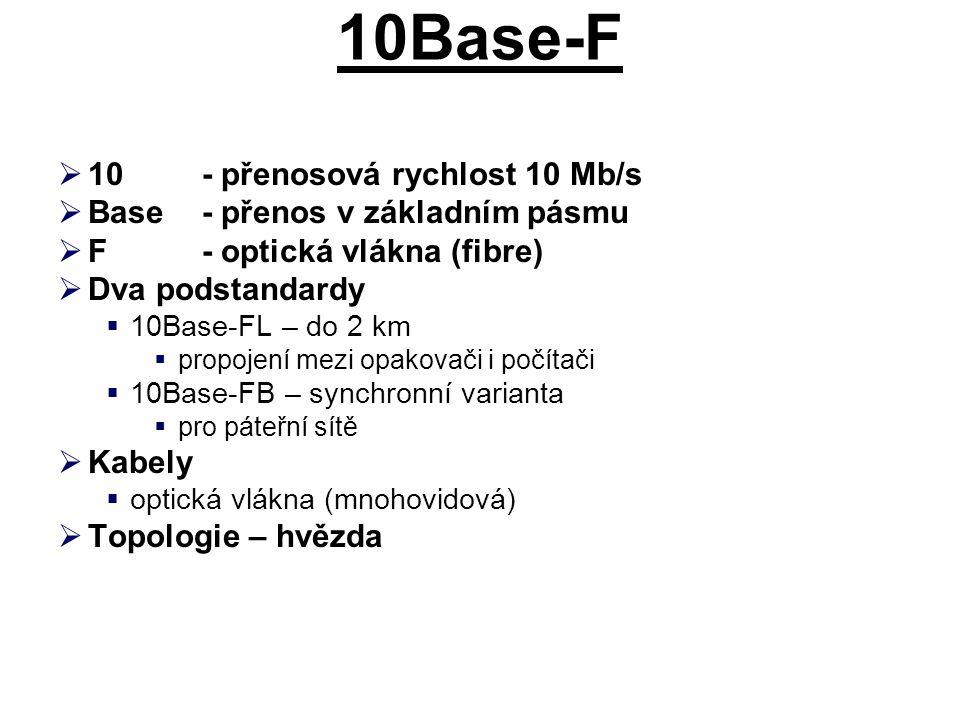 10Base-F  10- přenosová rychlost 10 Mb/s  Base- přenos v základním pásmu  F- optická vlákna (fibre)  Dva podstandardy  10Base-FL – do 2 km  propojení mezi opakovači i počítači  10Base-FB – synchronní varianta  pro páteřní sítě  Kabely  optická vlákna (mnohovidová)  Topologie – hvězda