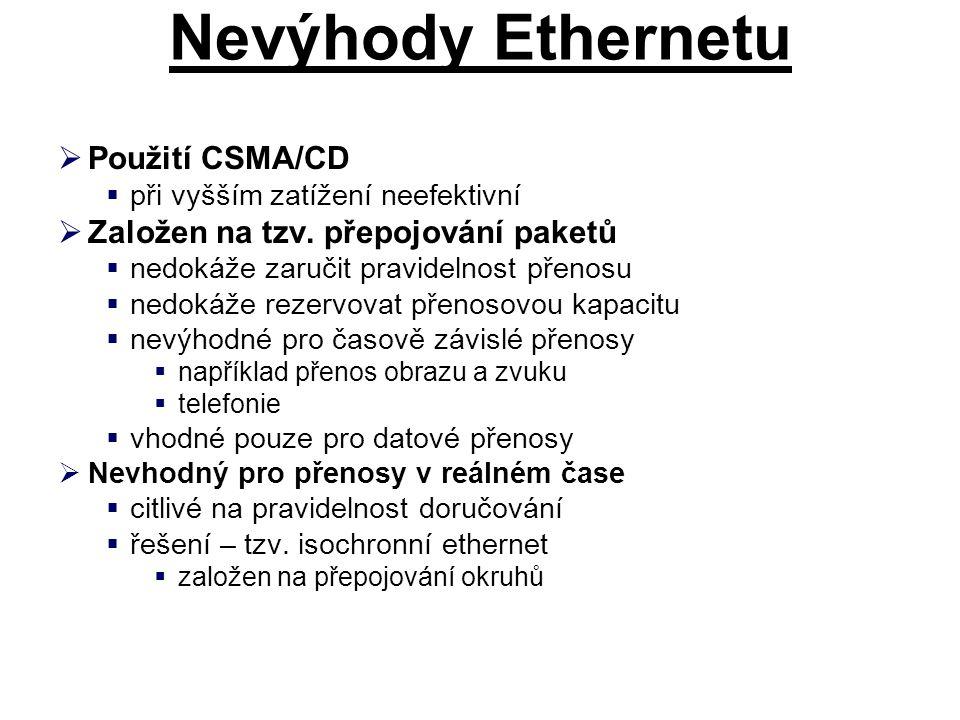Nevýhody Ethernetu  Použití CSMA/CD  při vyšším zatížení neefektivní  Založen na tzv.