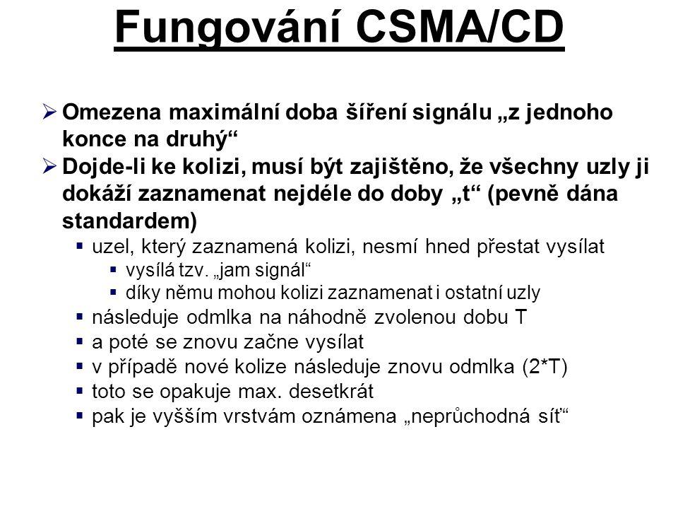 """Fungování CSMA/CD  Omezena maximální doba šíření signálu """"z jednoho konce na druhý  Dojde-li ke kolizi, musí být zajištěno, že všechny uzly ji dokáží zaznamenat nejdéle do doby """"t (pevně dána standardem)  uzel, který zaznamená kolizi, nesmí hned přestat vysílat  vysílá tzv."""