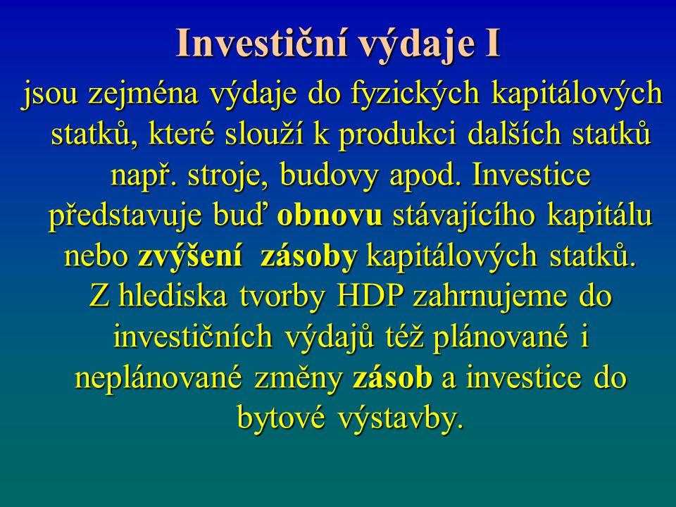 Investiční výdaje I jsou zejména výdaje do fyzických kapitálových statků, které slouží k produkci dalších statků např. stroje, budovy apod. Investice