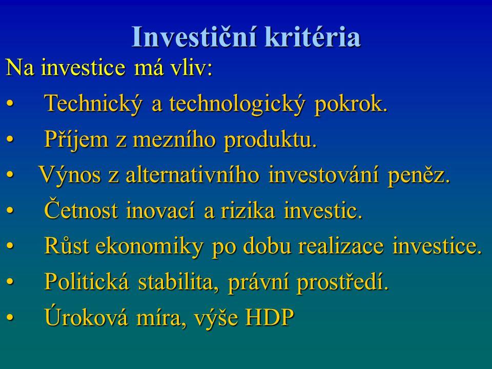 Investiční kritéria Na investice má vliv: Technický a technologický pokrok. Technický a technologický pokrok. Příjem z mezního produktu. Příjem z mezn