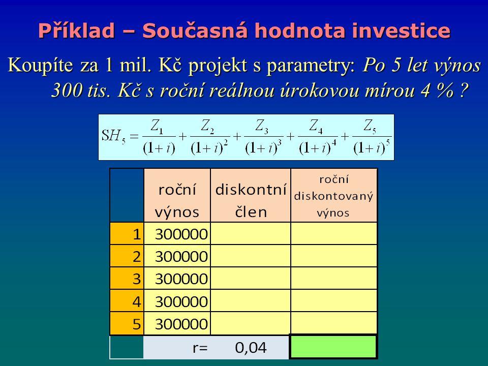 Koupíte za 1 mil. Kč projekt s parametry: Po 5 let výnos 300 tis. Kč s roční reálnou úrokovou mírou 4 % ? Příklad – Současná hodnota investice