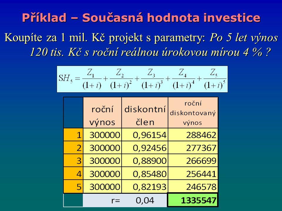 Koupíte za 1 mil. Kč projekt s parametry: Po 5 let výnos 120 tis. Kč s roční reálnou úrokovou mírou 4 % ? Příklad – Současná hodnota investice