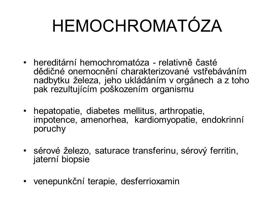 HEMOCHROMATÓZA hereditární hemochromatóza - relativně časté dědičné onemocnění charakterizované vstřebáváním nadbytku železa, jeho ukládáním v orgánec