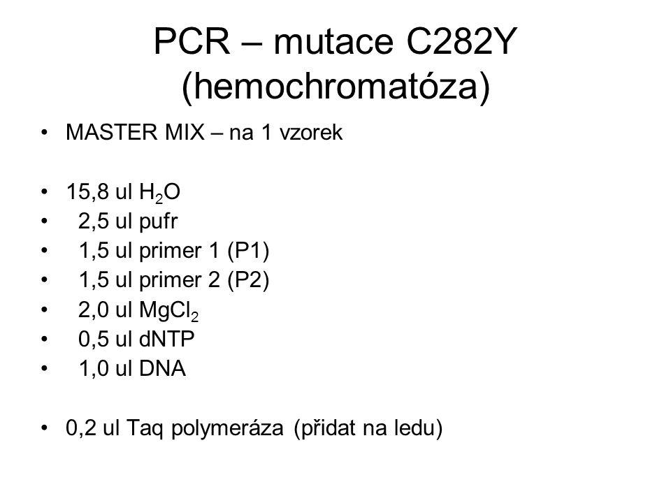 PCR – mutace C282Y (hemochromatóza) MASTER MIX – na 1 vzorek 15,8 ul H 2 O 2,5 ul pufr 1,5 ul primer 1 (P1) 1,5 ul primer 2 (P2) 2,0 ul MgCl 2 0,5 ul