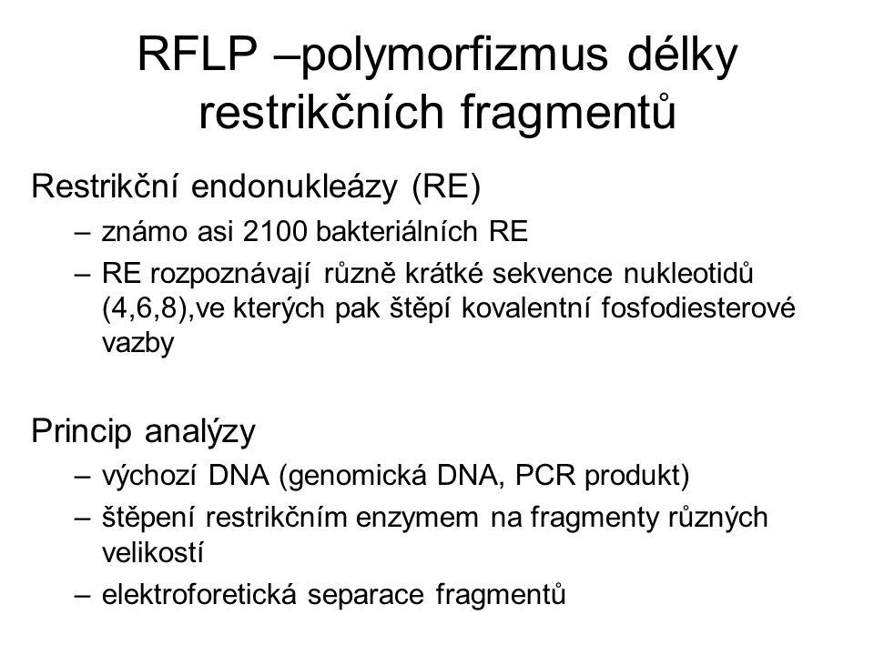 RFLP –polymorfizmus délky restrikčních fragmentů Restrikční endonukleázy (RE) –známo asi 2100 bakteriálních RE –RE rozpoznávají různě krátké sekvence
