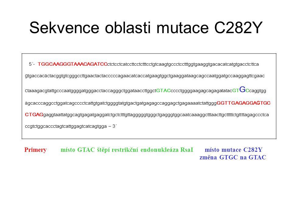Sekvence oblasti mutace C282Y 5´- TGGCAAGGGTAAACAGATCCctctcctcatccttcctctttcctgtcaagtgccctcctttggtgaaggtgacacatcatgtgacctcttca g tgaccac a ctacggtgtcg