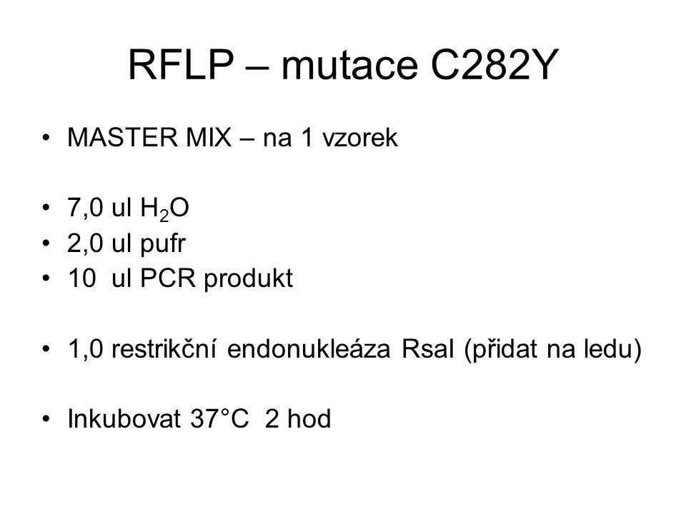 RFLP – mutace C282Y MASTER MIX – na 1 vzorek 7,0 ul H 2 O 2,0 ul pufr 10 ul PCR produkt 1,0 restrikční endonukleáza RsaI (přidat na ledu) Inkubovat 37