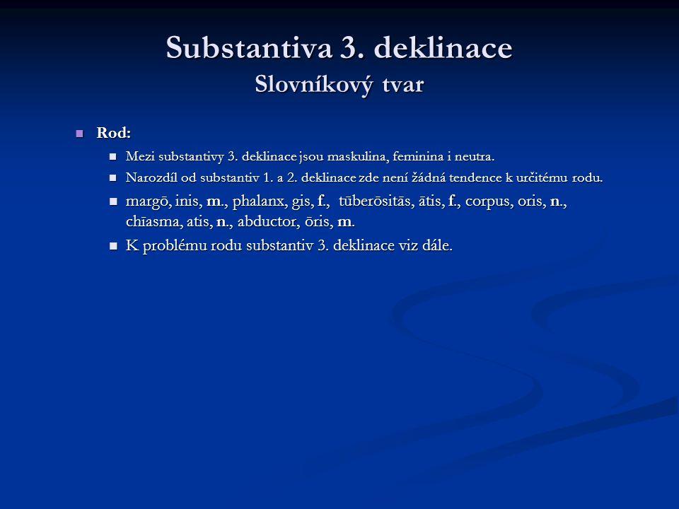 Substantiva 3.deklinace Tvoření gen. sg. Koncovka gen.