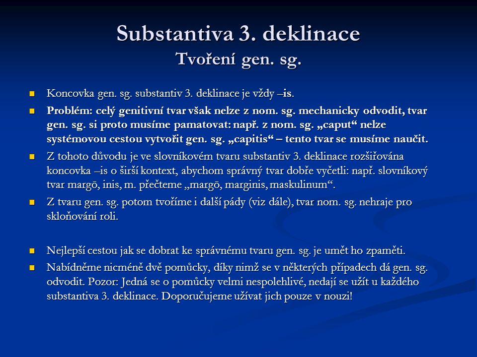 Substantiva 3.deklinace Tvoření gen. sg.