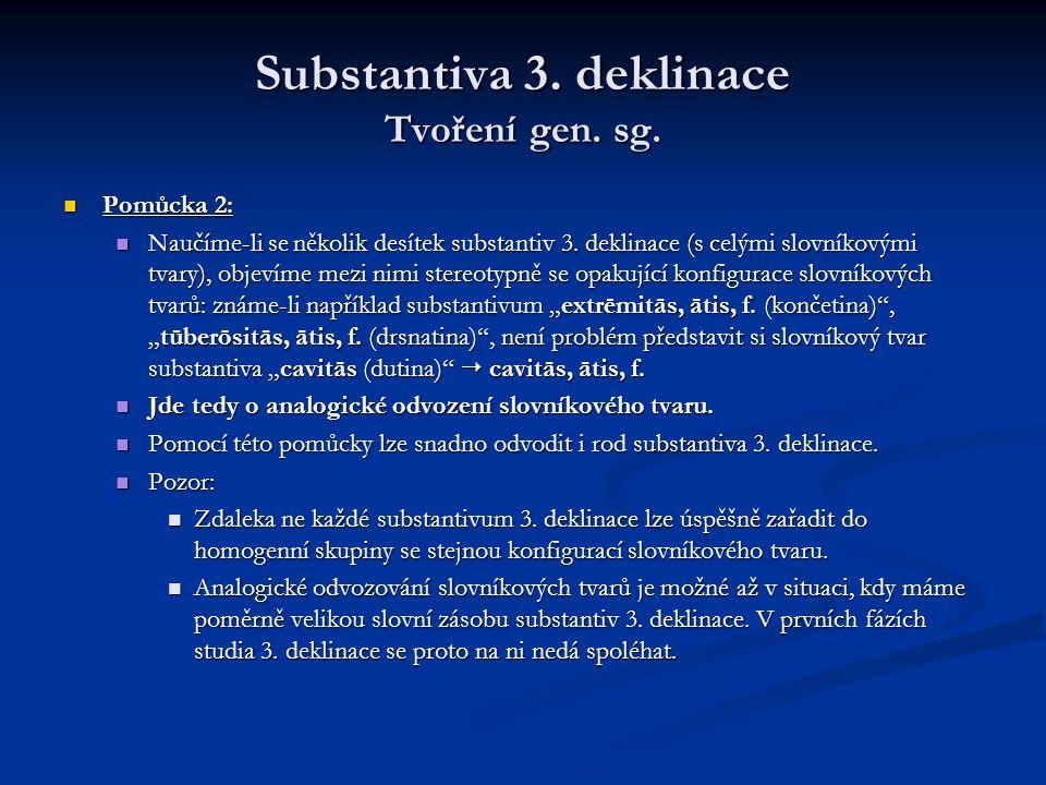 Substantiva 3.deklinace Tvoření gen. sg. -or, -ōris, m.