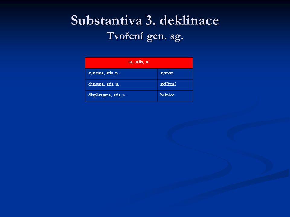 Substantiva 3.deklinace Rod Také rod substantiv 3.