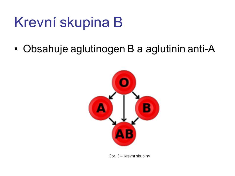 Krevní skupina B Obsahuje aglutinogen B a aglutinin anti-A Obr. 3 – Krevní skupiny