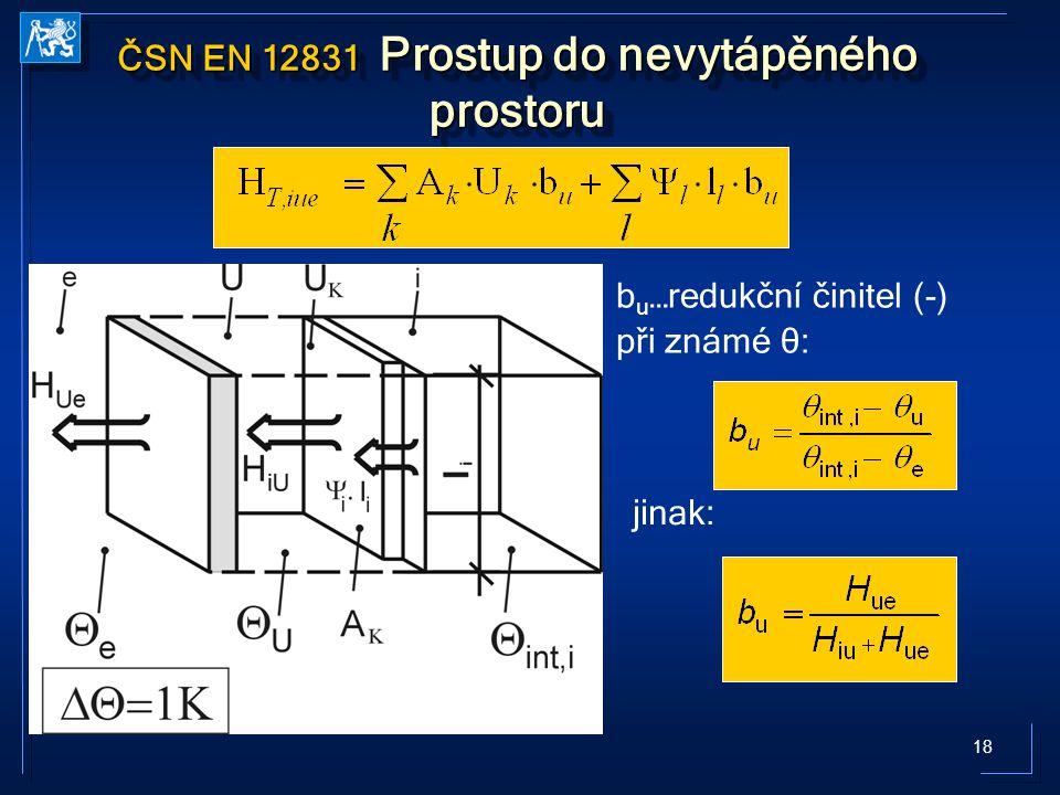 18 ČSN EN 12831 Prostup do nevytápěného prostoru b u …redukční činitel (-) při známé θ: jinak: