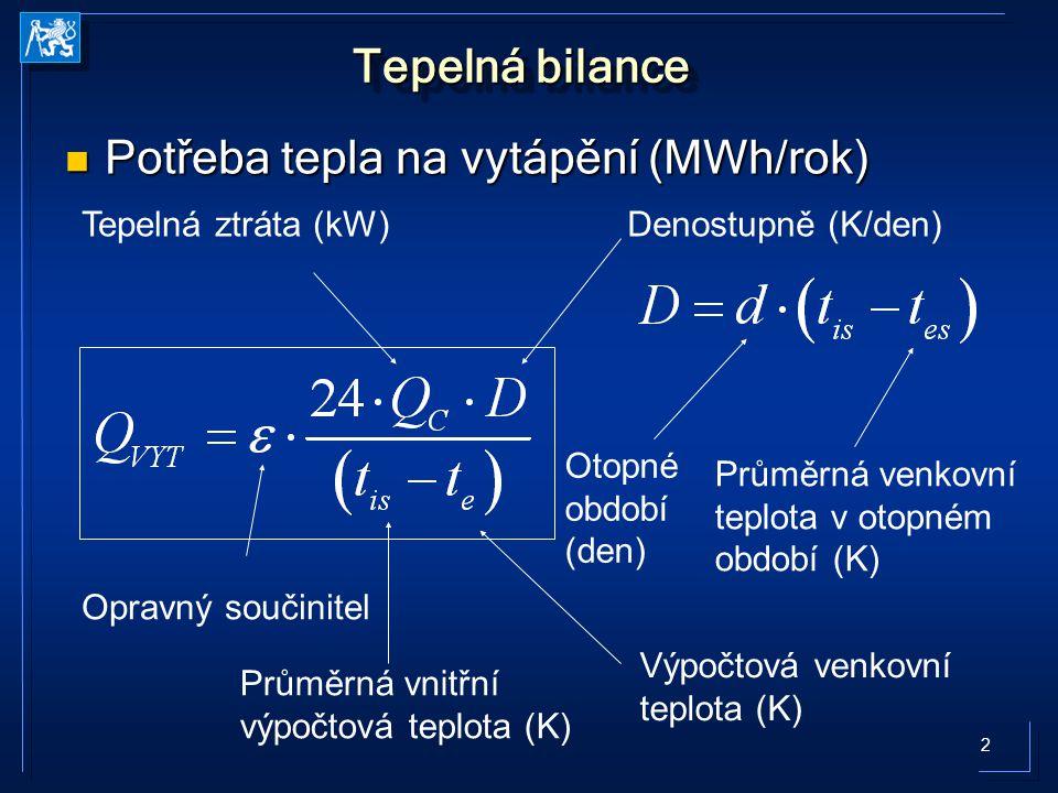 2 Tepelná bilance Potřeba tepla na vytápění (MWh/rok) Potřeba tepla na vytápění (MWh/rok) Denostupně (K/den) Opravný součinitel Tepelná ztráta (kW) Otopné období (den) Průměrná venkovní teplota v otopném období (K) Průměrná vnitřní výpočtová teplota (K) Výpočtová venkovní teplota (K)