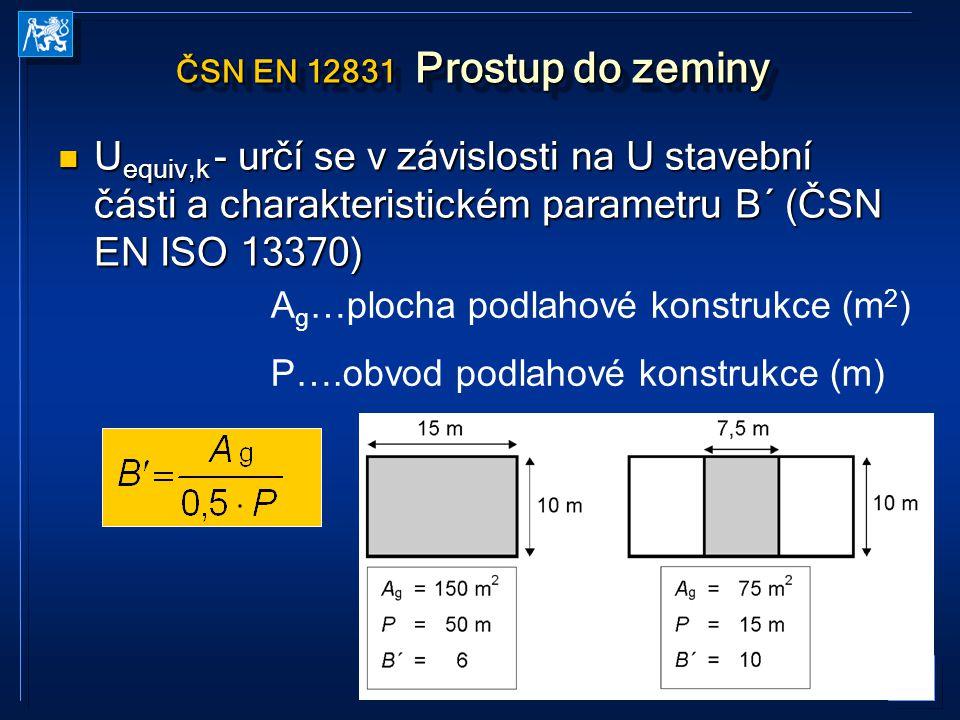 20 ČSN EN 12831 Prostup do zeminy U equiv,k - určí se v závislosti na U stavební části a charakteristickém parametru B´ (ČSN EN ISO 13370) U equiv,k -
