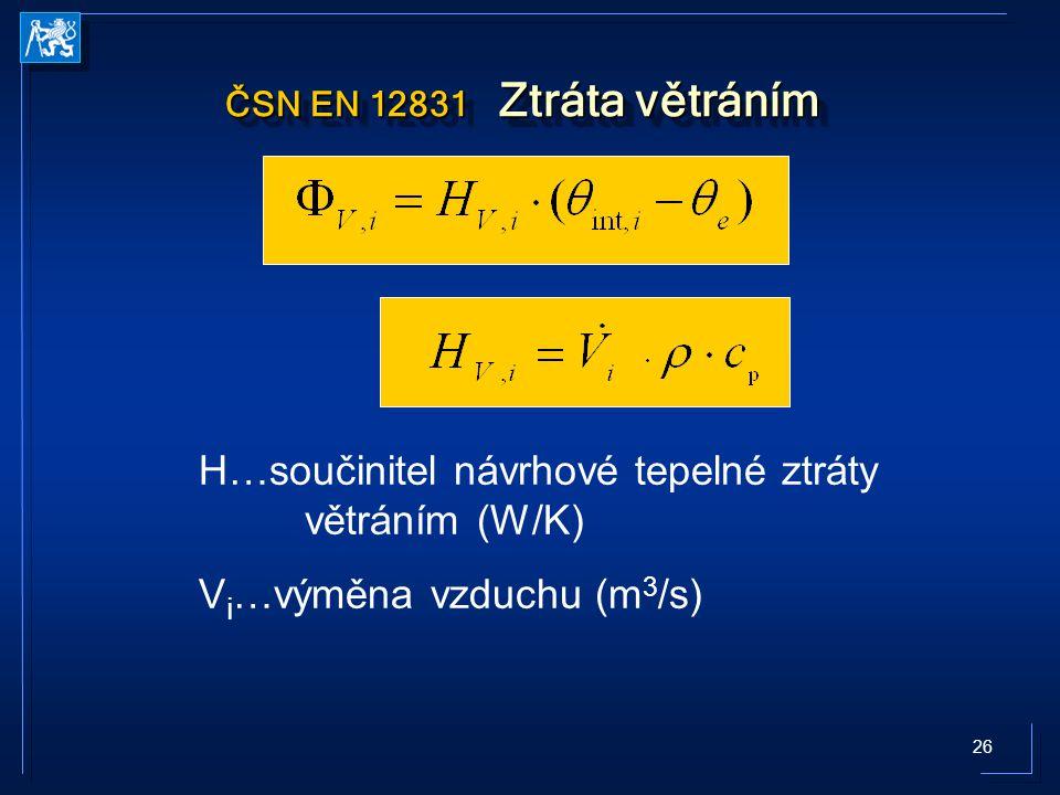 26 ČSN EN 12831 Ztráta větráním H…součinitel návrhové tepelné ztráty větráním (W/K) V i …výměna vzduchu (m 3 /s)