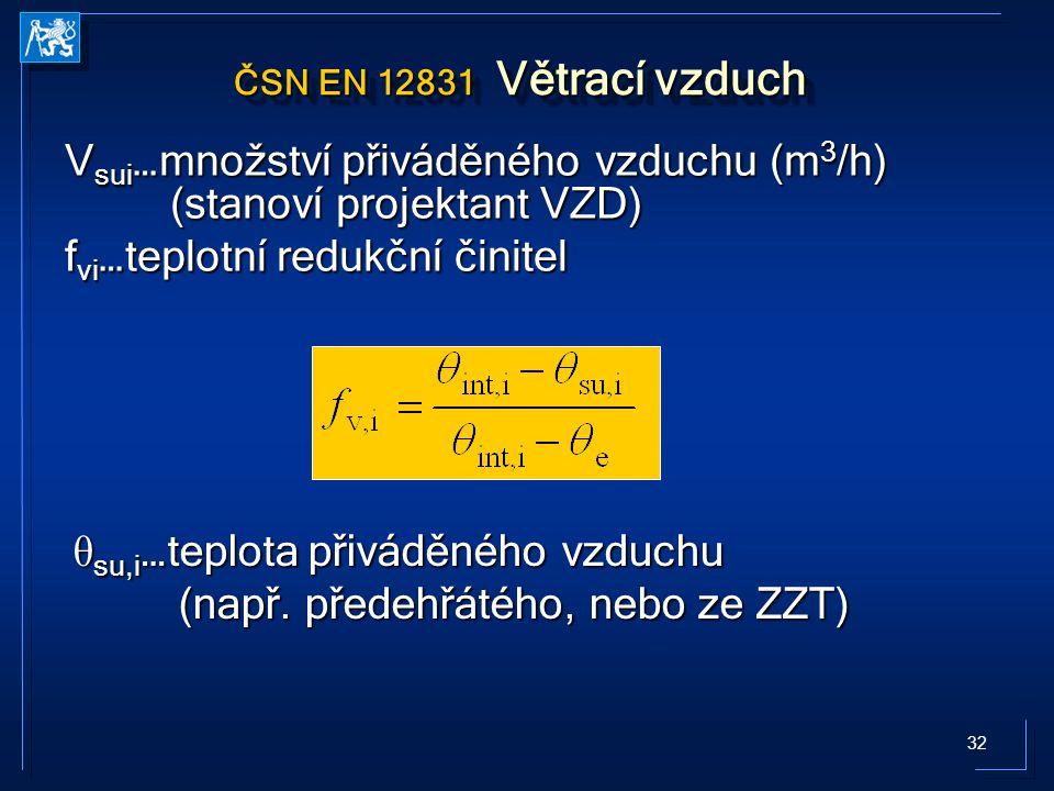 32 ČSN EN 12831 Větrací vzduch V sui …množství přiváděného vzduchu (m 3 /h) (stanoví projektant VZD) f vi …teplotní redukční činitel θ su,i …teplota přiváděného vzduchu (např.