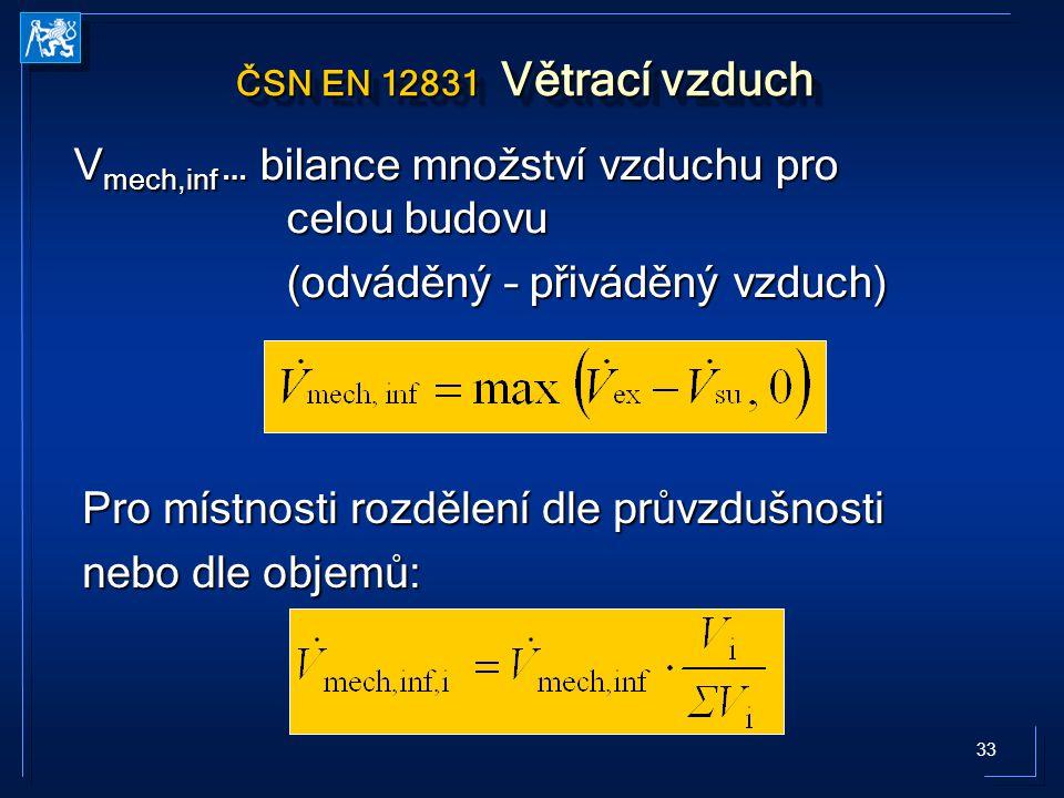 33 ČSN EN 12831 Větrací vzduch V mech,inf … bilance množství vzduchu pro celou budovu (odváděný – přiváděný vzduch) Pro místnosti rozdělení dle průvzdušnosti nebo dle objemů: