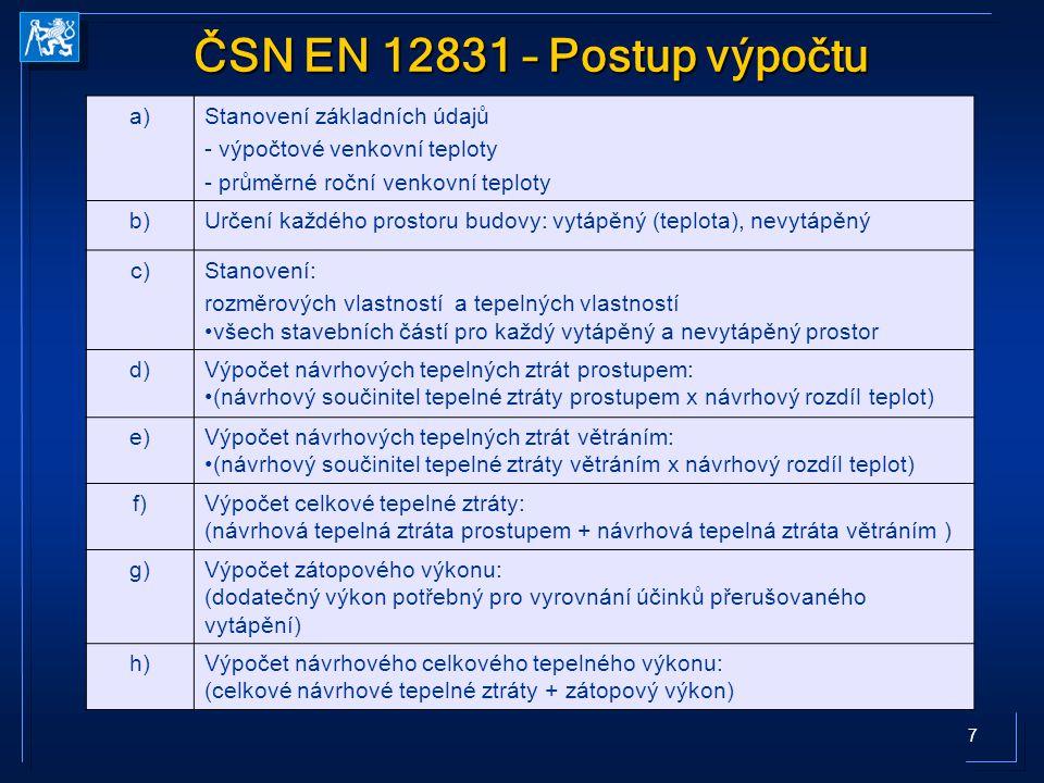 28 ČSN EN 12831 Ztráta větráním ČSN EN 12831 Ztráta větráním Přirozené větrání Nucené větrání inf…infiltrace min…hygienické minimum su…přiváděný vzduch mech,inf…nuceně odváděný - přiváděný vzduch fvi…teplotní redukční součinitel