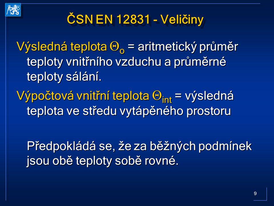 20 ČSN EN 12831 Prostup do zeminy U equiv,k - určí se v závislosti na U stavební části a charakteristickém parametru B´ (ČSN EN ISO 13370) U equiv,k - určí se v závislosti na U stavební části a charakteristickém parametru B´ (ČSN EN ISO 13370) A g …plocha podlahové konstrukce (m 2 ) P….obvod podlahové konstrukce (m)
