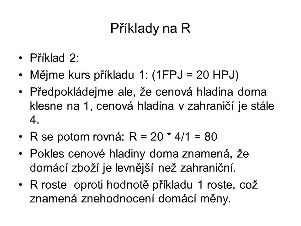Příklady na R Příklad 2: Mějme kurs příkladu 1: (1FPJ = 20 HPJ) Předpokládejme ale, že cenová hladina doma klesne na 1, cenová hladina v zahraničí je