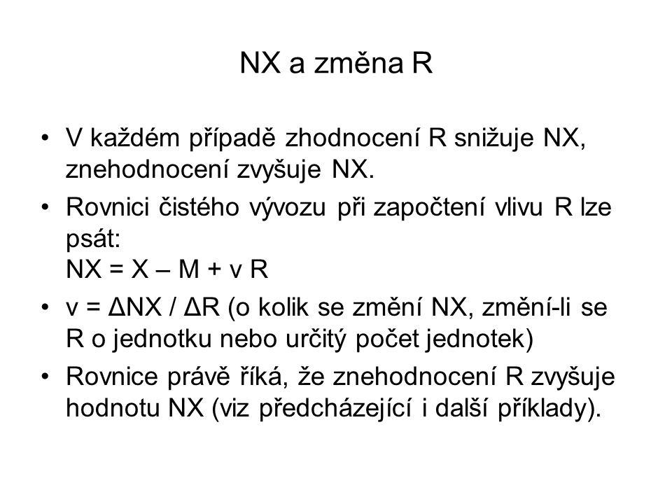 NX a změna R V každém případě zhodnocení R snižuje NX, znehodnocení zvyšuje NX. Rovnici čistého vývozu při započtení vlivu R lze psát: NX = X – M + v