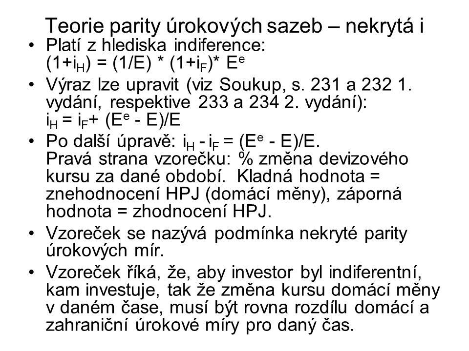 Teorie parity úrokových sazeb – nekrytá i Platí z hlediska indiference: (1+i H ) = (1/E) * (1+i F )* E e Výraz lze upravit (viz Soukup, s. 231 a 232 1