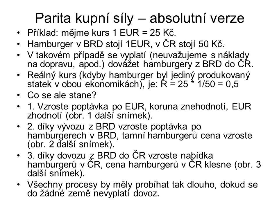 Parita kupní síly – absolutní verze Příklad: mějme kurs 1 EUR = 25 Kč. Hamburger v BRD stojí 1EUR, v ČR stojí 50 Kč. V takovém případě se vyplatí (neu