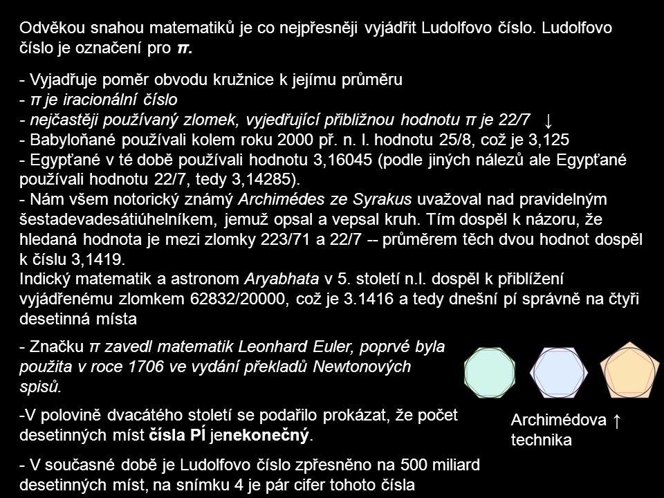 Ludolf van Ceulen -V roce 1596 vypočítal číslo π na 20 desetinných míst - v roce 1615 toto číslo upřesnil na 35 desetinných míst - k vyjádření π používal Archimédovu metodu - π = Ludolfovo číslo - všech pětatřicet desetinných míst bylo vyryto na jeho náhrobní kámen Náhrobní kámen Ludolfa van Ceulena Holandský matematik Ludolph van Ceulen se narodil 28.