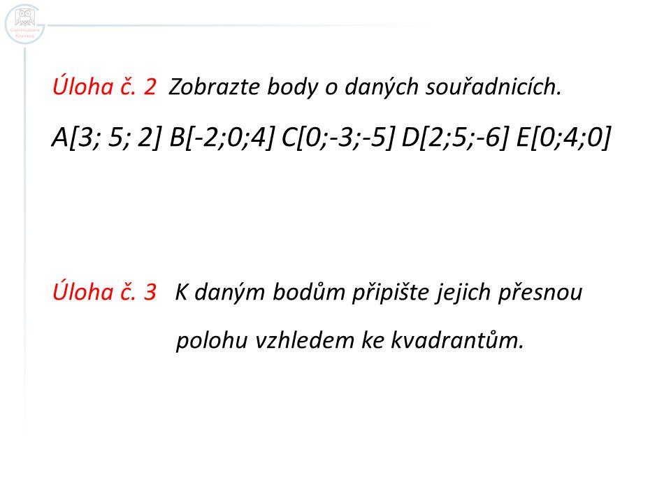 Úloha č. 2 Zobrazte body o daných souřadnicích.