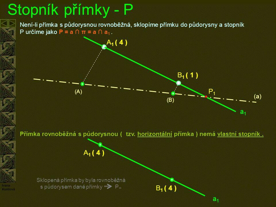 Stopník přímky Není-li přímka s půdorysnou rovnoběžná, sklopíme přímku do půdorysny a stopník P = a ∩ π = a ∩ a 1.