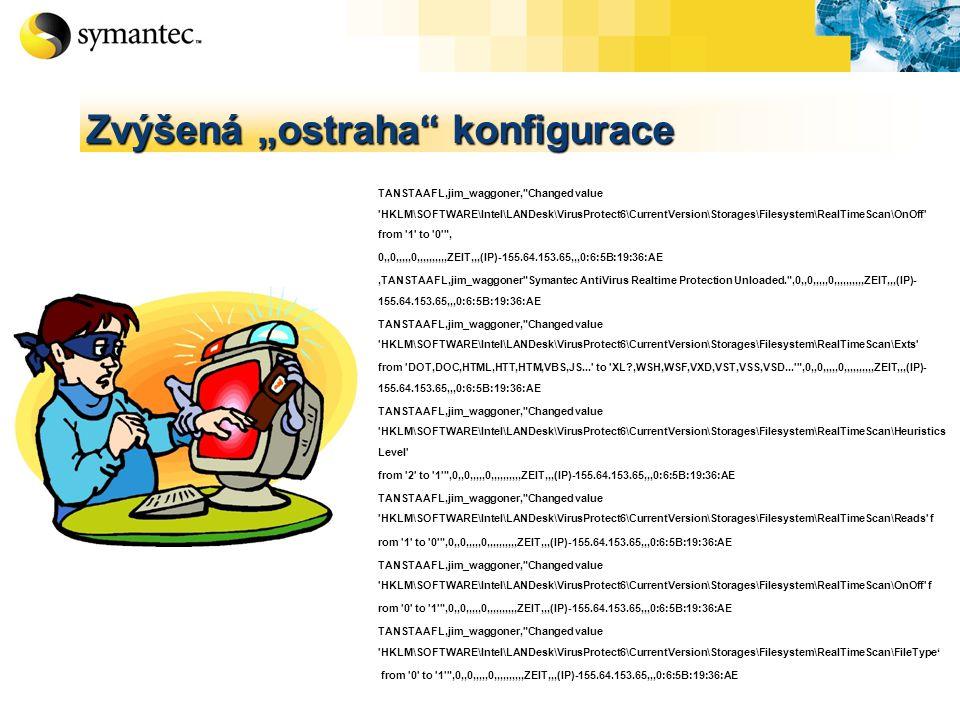 "TANSTAAFL,jim_waggoner, Changed value HKLM\SOFTWARE\Intel\LANDesk\VirusProtect6\CurrentVersion\Storages\Filesystem\RealTimeScan\OnOff from 1 to 0 , 0,,0,,,,,0,,,,,,,,,,ZEIT,,,(IP)-155.64.153.65,,,0:6:5B:19:36:AE,TANSTAAFL,jim_waggoner Symantec AntiVirus Realtime Protection Unloaded. ,0,,0,,,,,0,,,,,,,,,,ZEIT,,,(IP)- 155.64.153.65,,,0:6:5B:19:36:AE TANSTAAFL,jim_waggoner, Changed value HKLM\SOFTWARE\Intel\LANDesk\VirusProtect6\CurrentVersion\Storages\Filesystem\RealTimeScan\Exts from DOT,DOC,HTML,HTT,HTM,VBS,JS... to XL?,WSH,WSF,VXD,VST,VSS,VSD... ,0,,0,,,,,0,,,,,,,,,,ZEIT,,,(IP)- 155.64.153.65,,,0:6:5B:19:36:AE TANSTAAFL,jim_waggoner, Changed value HKLM\SOFTWARE\Intel\LANDesk\VirusProtect6\CurrentVersion\Storages\Filesystem\RealTimeScan\Heuristics Level from 2 to 1 ,0,,0,,,,,0,,,,,,,,,,ZEIT,,,(IP)-155.64.153.65,,,0:6:5B:19:36:AE TANSTAAFL,jim_waggoner, Changed value HKLM\SOFTWARE\Intel\LANDesk\VirusProtect6\CurrentVersion\Storages\Filesystem\RealTimeScan\Reads f rom 1 to 0 ,0,,0,,,,,0,,,,,,,,,,ZEIT,,,(IP)-155.64.153.65,,,0:6:5B:19:36:AE TANSTAAFL,jim_waggoner, Changed value HKLM\SOFTWARE\Intel\LANDesk\VirusProtect6\CurrentVersion\Storages\Filesystem\RealTimeScan\OnOff f rom 0 to 1 ,0,,0,,,,,0,,,,,,,,,,ZEIT,,,(IP)-155.64.153.65,,,0:6:5B:19:36:AE TANSTAAFL,jim_waggoner, Changed value HKLM\SOFTWARE\Intel\LANDesk\VirusProtect6\CurrentVersion\Storages\Filesystem\RealTimeScan\FileType' from 0 to 1 ,0,,0,,,,,0,,,,,,,,,,ZEIT,,,(IP)-155.64.153.65,,,0:6:5B:19:36:AE Zvýšená ""ostraha konfigurace"
