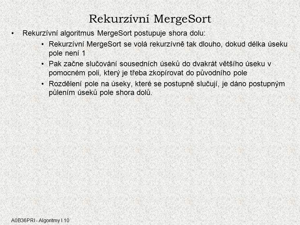 A0B36PRI - Algoritmy I 10 Rekurzívní MergeSort Rekurzívní algoritmus MergeSort postupuje shora dolu: Rekurzívní MergeSort se volá rekurzívně tak dlouho, dokud délka úseku pole není 1 Pak začne slučování sousedních úseků do dvakrát většího úseku v pomocném poli, který je třeba zkopírovat do původního pole Rozdělení pole na úseky, které se postupně slučují, je dáno postupným půlením úseků pole shora dolů.