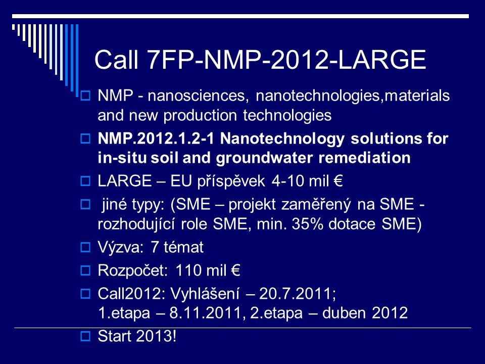 Call 7FP-NMP-2012-LARGE  NMP - nanosciences, nanotechnologies,materials and new production technologies  NMP.2012.1.2-1 Nanotechnology solutions for in-situ soil and groundwater remediation  LARGE – EU příspěvek 4-10 mil €  jiné typy: (SME – projekt zaměřený na SME - rozhodující role SME, min.