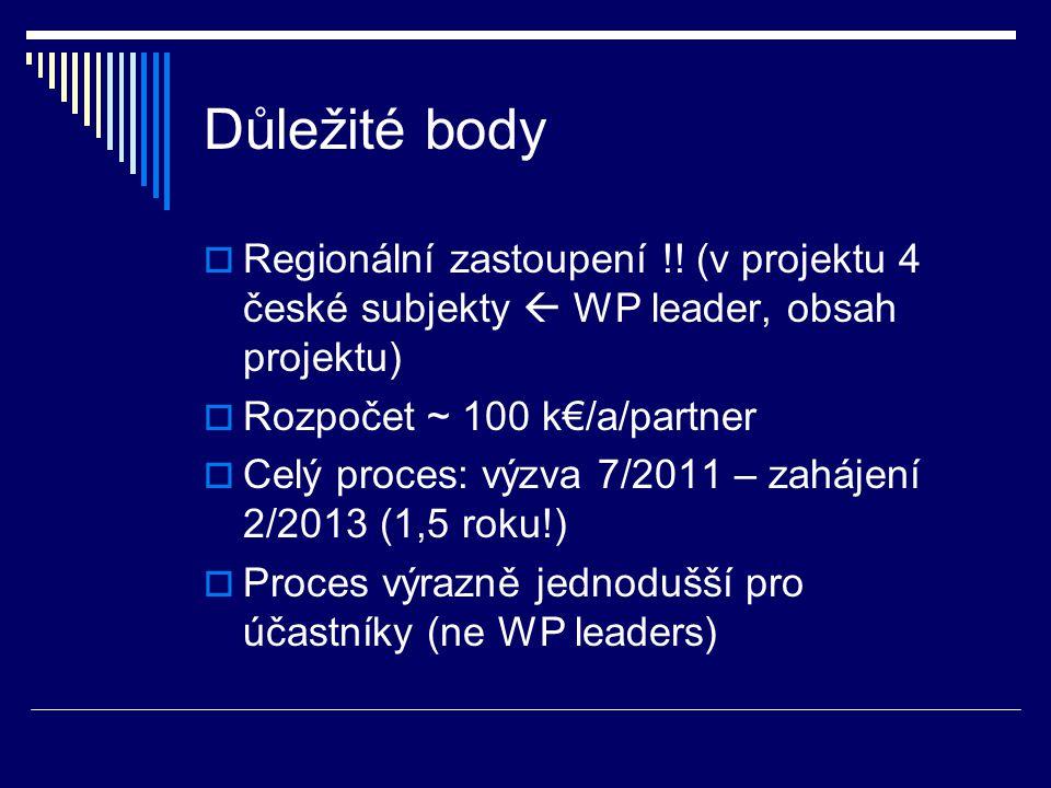 Důležité body  Regionální zastoupení !! (v projektu 4 české subjekty  WP leader, obsah projektu)  Rozpočet ~ 100 k€/a/partner  Celý proces: výzva
