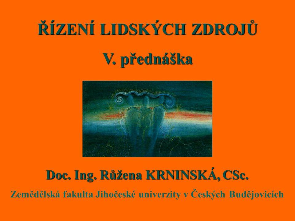 ŘÍZENÍ LIDSKÝCH ZDROJŮ V. přednáška Doc. Ing. Růžena KRNINSKÁ, CSc.