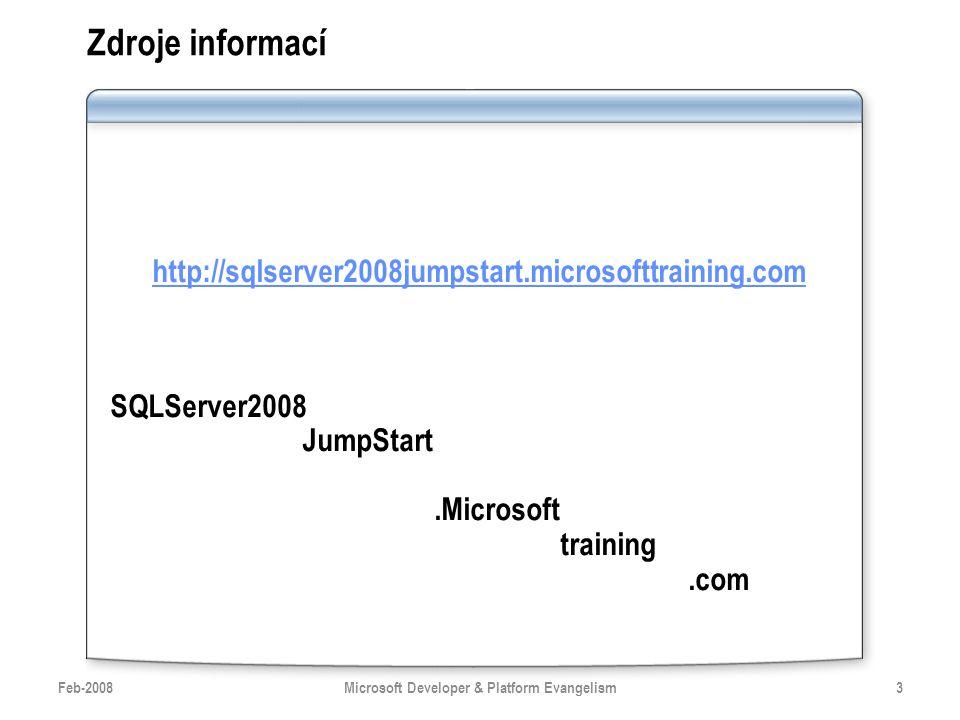 Zdroje informací http://sqlserver2008jumpstart.microsofttraining.com SQLServer2008 JumpStart.Microsoft training.com Feb-20083Microsoft Developer & Pla