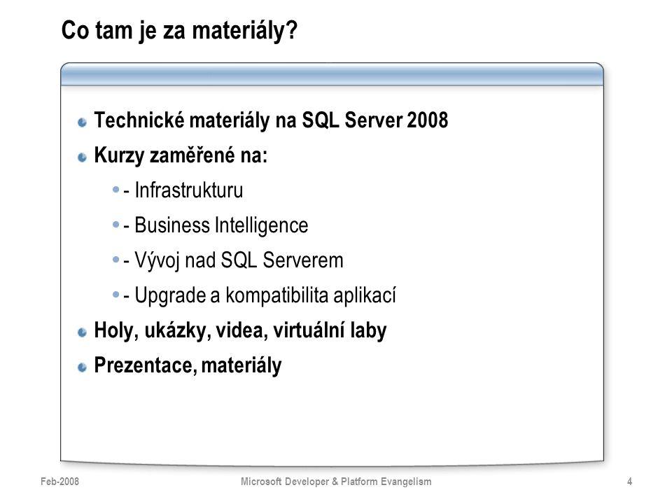 Co tam je za materiály? Technické materiály na SQL Server 2008 Kurzy zaměřené na:  - Infrastrukturu  - Business Intelligence  - Vývoj nad SQL Serve