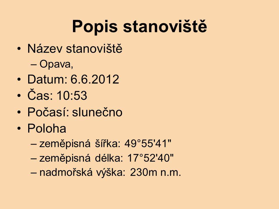 Popis stanoviště Název stanoviště –Opava, Datum: 6.6.2012 Čas: 10:53 Počasí: slunečno Poloha –zeměpisná šířka: 49°55'41