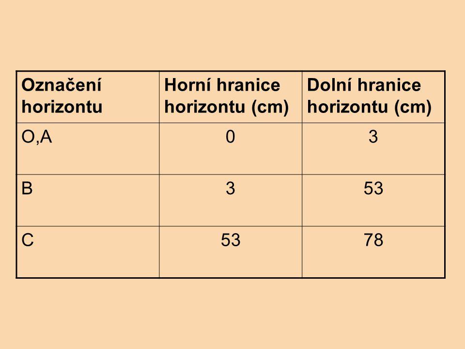 Označení horizontu Horní hranice horizontu (cm) Dolní hranice horizontu (cm) O,A03 B353 C 78