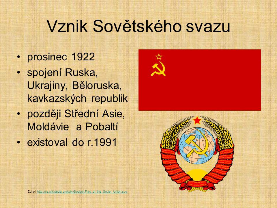Vznik Sovětského svazu prosinec 1922 spojení Ruska, Ukrajiny, Běloruska, kavkazských republik později Střední Asie, Moldávie a Pobaltí existoval do r.