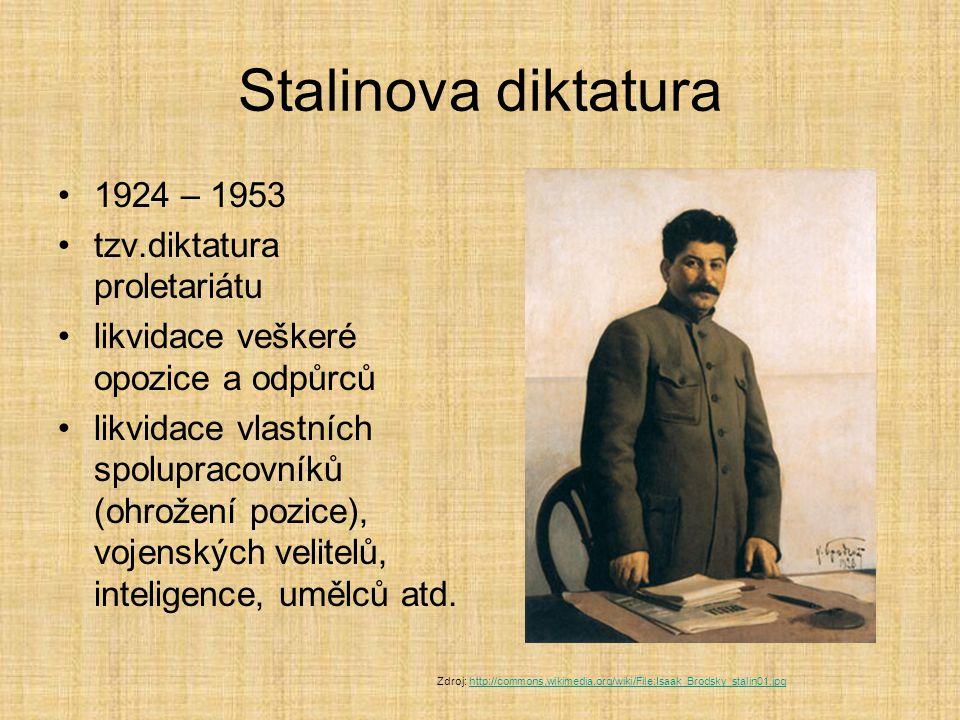 Stalinova diktatura 1924 – 1953 tzv.diktatura proletariátu likvidace veškeré opozice a odpůrců likvidace vlastních spolupracovníků (ohrožení pozice),