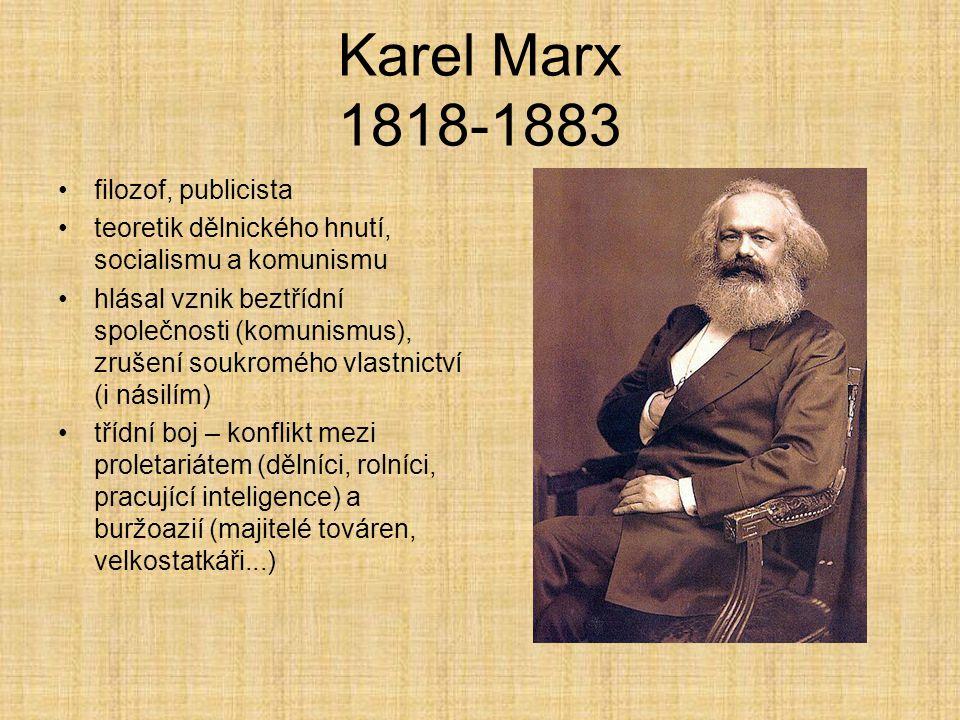 Karel Marx 1818-1883 filozof, publicista teoretik dělnického hnutí, socialismu a komunismu hlásal vznik beztřídní společnosti (komunismus), zrušení so