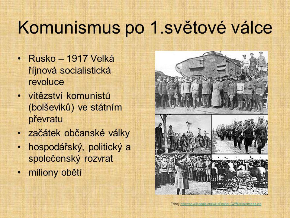 Komunismus po 1.světové válce Rusko – 1917 Velká říjnová socialistická revoluce vítězství komunistů (bolševiků) ve státním převratu začátek občanské v