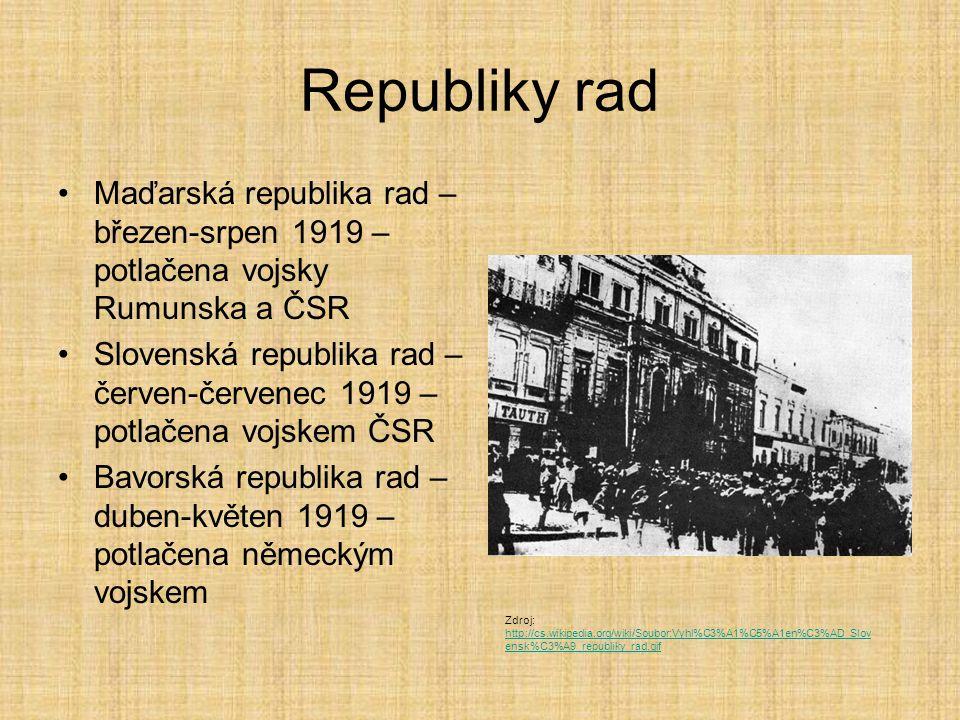 Republiky rad Maďarská republika rad – březen-srpen 1919 – potlačena vojsky Rumunska a ČSR Slovenská republika rad – červen-červenec 1919 – potlačena