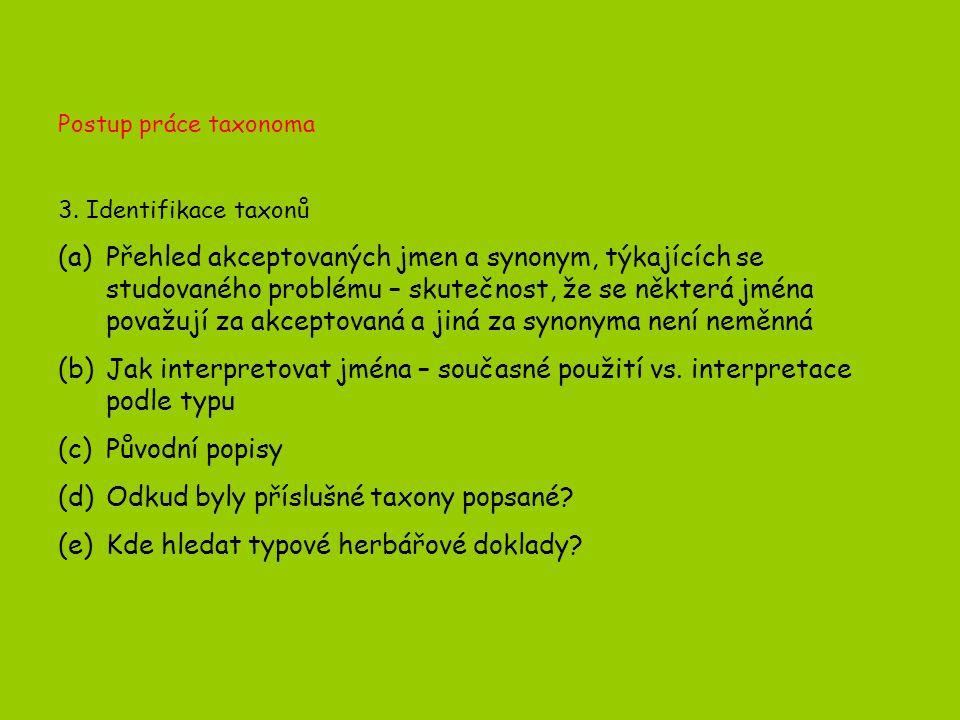 Postup práce taxonoma 3.