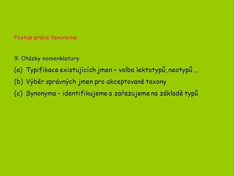 Postup práce taxonoma 9.
